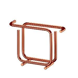 Porta-Guardanapos Vertical Quadrado Attuale em Aço Rose Gold