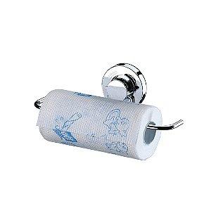 Suporte Multiuso para Rolo Papel Toalha com Ventosa em Aço Cromado