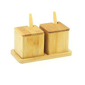 Porta Condimentos Duplo de Bambu