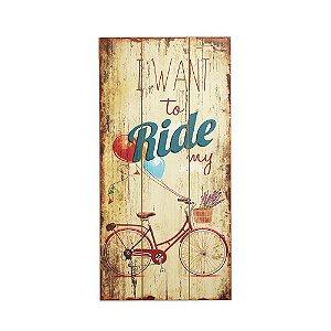 Placa Decorativa de Madeira Bicicleta Bege 48x24