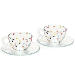 Kit 2 Xícaras de Chá com Pires de Vidro Coração