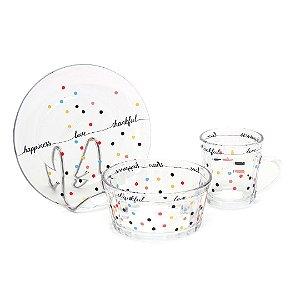 Kit Café da Manhã com Xícara Pires e Bowl de Vidro Mini Dots