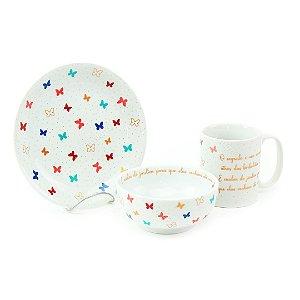 Kit Café da Manhã com Xícara Pires e Bowl de Porcelana Borboleta