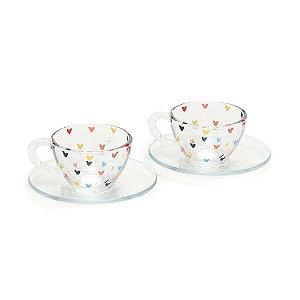 Kit 2 Xícaras de Café com Pires de Vidro Coração