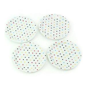 Kit 4 Pratos de Sobremesa de Porcelana Coração