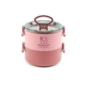 Pote Marmita Redondo 2 Andares 1600 ml Concept Rosa