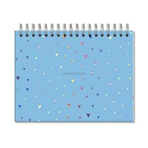 Caderno de Lettering Folhas Brancas Corações Holográficos