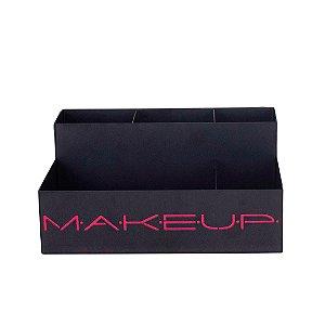 Organizador de Maquiagem em Aço Makeup Rosa Bordô