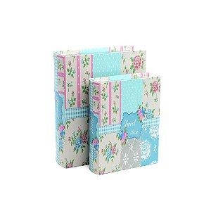 Conjunto 2 Livros Caixa Decorativos Sweet Rose Patchwork