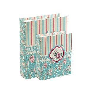 Conjunto 2 Livros Caixa Decorativos Rosas Azul