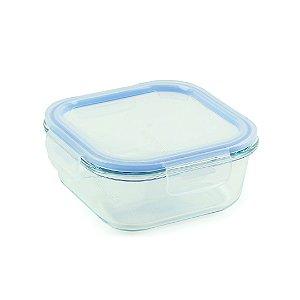 Pote de Vidro Refratário Hermético Quadrado 780 ml Azul