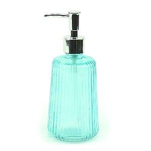 Porta Sabonete Liquído em Vidro Listras Elegantes Verde Água
