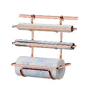 Suporte Porta Rolos Triplo para Papel Alúminio, Papel Toalha e PVC em Aço Cromado Rose Gold