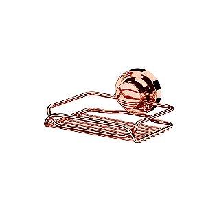 Saboneteira com Ventosa em Aço Cromado Rose Gold