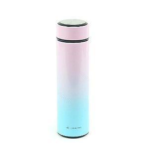 Garrafa Térmica de Inox com Infusor Tie Dye Rosa e Azul 500 ml