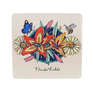 Mouse Pad Frida Kahlo Flores, Borboleta e Abelha