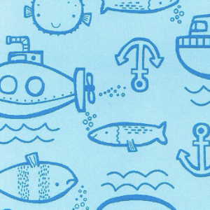Flanela Sarja Infantil 80 Plus Fish Azul - Largura 80 cm - A Metro - 100X80 cm