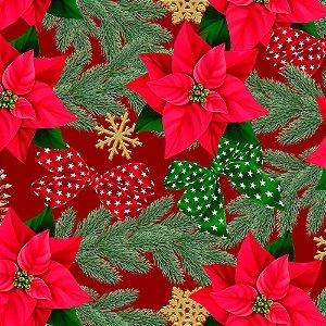 Tecido Tricoline 100% Algodão Natal Digital - 079