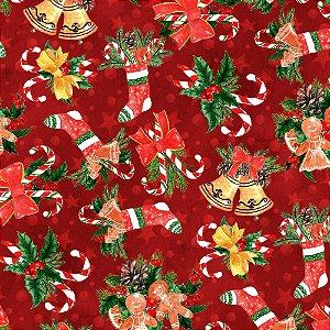 Tecido Tricoline 100% Algodão Natal Digital - 088