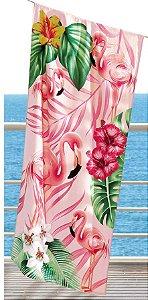 Toalha de Praia Velour AF-958 Estampada Döhler 76X152 cm - Flamingos 02