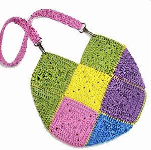 Bolsa de Crochê Infantil Colorida 25x25cm - Modelo Squares