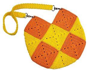 Bolsa de Crochê Infantil Laranja e Amarelo 25x25cm - Modelo Squares