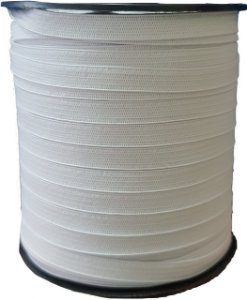 Elástico Chato Stik 7mm Branco - Rolo Com 100 Metros