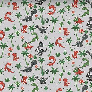 Tecido Tricoline Estampado Dinossauros 100% Algodão - COR 56 - 1,00x1,50m
