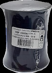 Cadarço Sarjado Algodão - São José - 6mm x 50m - Ref. 3006 Preto