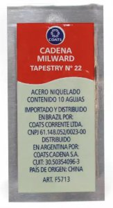 Agulha De Mão Tapestry Nº 22 Para Bordar Ponto Cruz Envelope C/10 Unidades