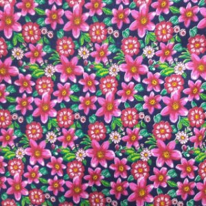 Tecido Tricoline Estampado Flores Rosas 100% Algodão - COR 105 - 1,00x1,50m