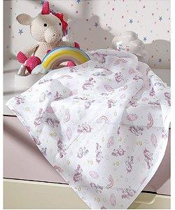 Tecido Fralda Algodão 70cm Dohler Estampado - Unicórnio Rosa - 70 x 70 cm