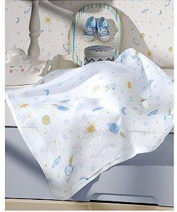 Tecido Fralda Algodão 70cm Dohler Estampado - Foguete - 70 x 70 cm