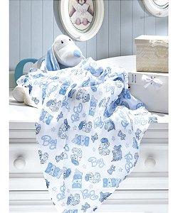Tecido Fralda Algodão 70cm Dohler Estampado - Boy Azul - 70 x 70 cm