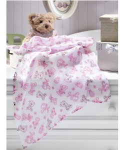 Tecido Fralda Algodão 70cm Dohler Estampado - Girl Rosa - 70 x 70 cm