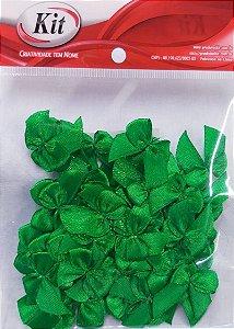 Laço de Cetim N.2 REF YY004 - Verde Bandeira - Pacote Com 50 Unidades