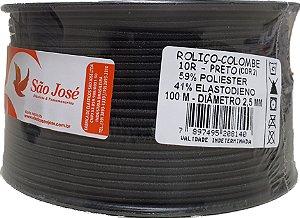 Elástico Roliço Preto 10R São José | 2,5 mm - Rolo com 100 Metros