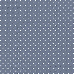 Tecido Tricoline Estampado Poá Azul 100% Algodão Peripan - COR 113 - 1,00x1,50m