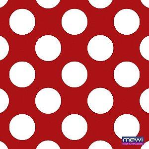 TNT Estampado Poá Grande Fundo Vermelho Bola Branca 1023 - 100 x 140 cm