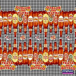 TNT Estampado Festa de Boteco Preto 7005 - 100 x 140 cm