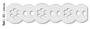 Bordado REF 22 Branco - 24MM - Peça com 9,90m