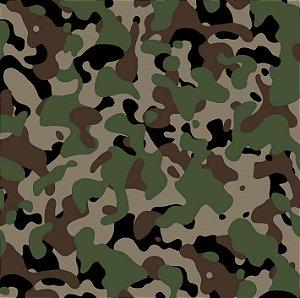 Tecido Tricoline Estampado Camuflado Verde 100% Algodão - COR 167 - 1,00x1,50m