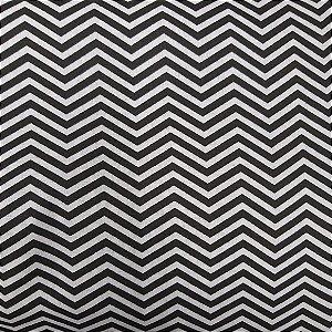 Tecido Tricoline Estampado Chevron Cinza Com Preto 100% Algodão - COR 173 - 1,00x1,50m