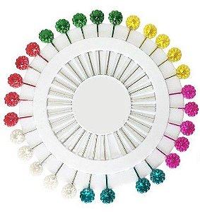 Disco de Alfinete Cabeça de Plástico 55mm - 30 Alfinetes - Flor