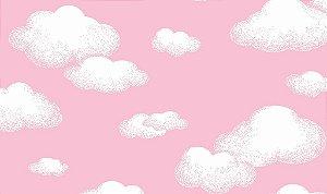 Tecido Tricoline 100% Algodão - 0,50m X 1,50m - Nuvens Fundo Rosa
