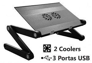 Suporte de Notebook MultiFlex MAX com 2 Coolers e HUB USB