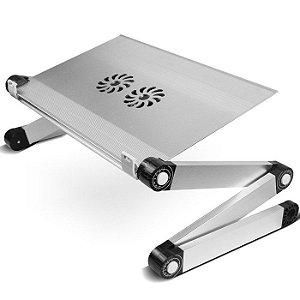 Suporte de Notebook MultiFlex LIGHT com 2 Coolers de Ventilação - Cinza (Prata)