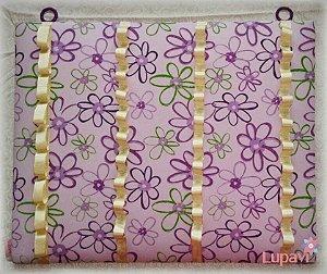 Porta Enfeites de Cabelo Lilás Floral