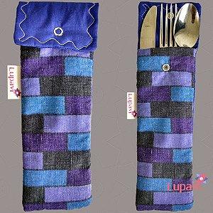 Porta Talher Mini Azul Xadrez