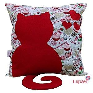 Almofada Gato Apaixonado - Cupcake Vermelho